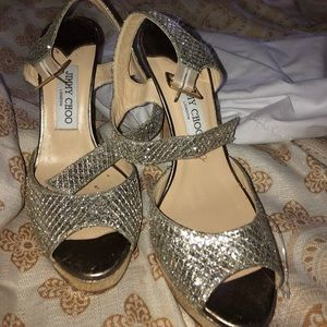 Jimmy Choo Gold and silver Heels